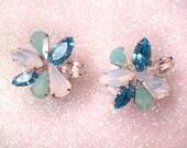 Blue rhinestone ear plugs / wedding ear plugs / opal mint green ear plugs / crystal plugs gauges / 2-8mm gauges