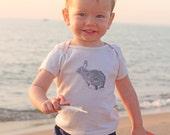 Bunny Rabbit Screen Print on Baby and Kid's Organic American Apparel Tshirt
