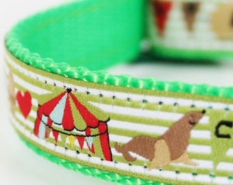 Green Circus Dog Collar / Ribbon Dog Collar / Adjustable