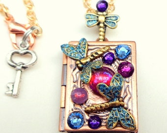 PS, Mexican Opal and Swarovski Crystal Dragonfly Locket Necklace