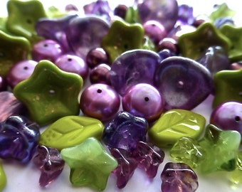 Czech Glass Leaf and Flower Mix in Shades Olive Green and Purples 77 Beads/10 Different Beads