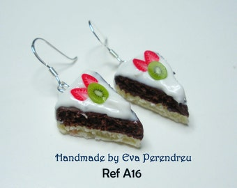 Earrings miniature cake slice- silver