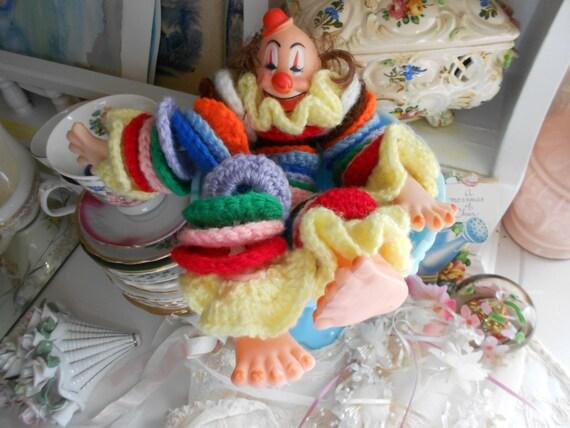 Amigurumi Angel Crochet Pattern : Items similar to Vintage Clown yo yo Doll Knit or Crochet ...