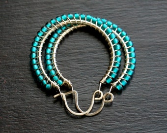Teal seed bead hoops, medium size, Toho, 14k gold filled, teal green, wire wrapped, beaded hoops, Mimi Michele Jewelry