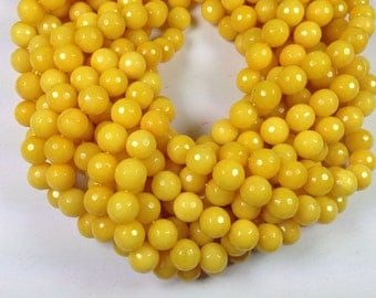 38 pcs 10mm faceted round yellow color dyed jade beads