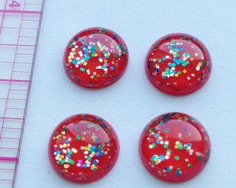 Red Glitter Cabochons flatback round resin 10.5mm 4 pcs