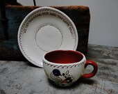 Vintage Pennsylvania Dutch Painted Pottery Cup And Saucer