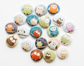 Buttons- Owls (set of 20)