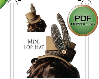 PDF instant download Mini Top Hat Millinery hat making pattern. Steampunk, Burlesque, wedding
