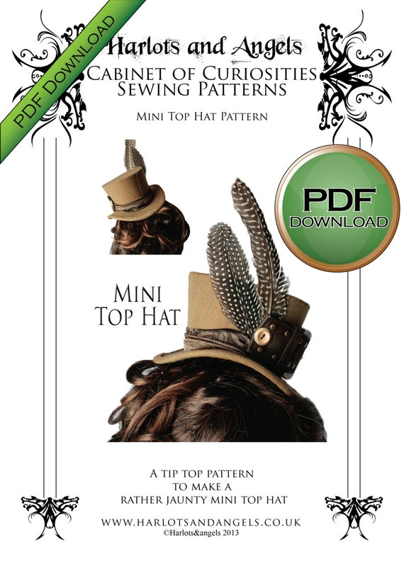 Steampunk Sewing Patterns- Dresses, Coats, Plus Sizes, Men's Patterns PDF instant download Mini Top Hat Millinery hat making pattern. Steampunk Burlesque wedding $5.95 AT vintagedancer.com