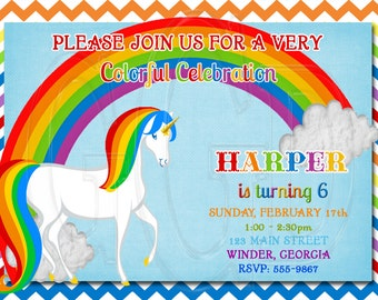 Unicorn Rainbow invitation, unicorn invite, unicorn theme party, unicorn invitation, rainbow invite, rainbow unicorn theme -Digital File