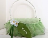 Large Easter Basket Liner -- Green Tulle With Flowers -- Free Monogram --