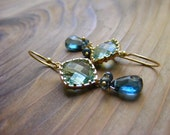 London Blue Topaz Earrings with Light Teal Glass Connector.