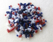 Jewelry Making Beads, Glass Beads, Craft Supplies, Bead Soup, Bead Mix, Red White Blue, Loose Bead Lot, Bead Supply, Patriotic Bead Mix