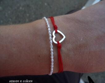 Heart bracelet, Friendship bracelet, Love bracelet, Red bracelet, Valentine bracelet, Adjustable bracelet, Under 10,