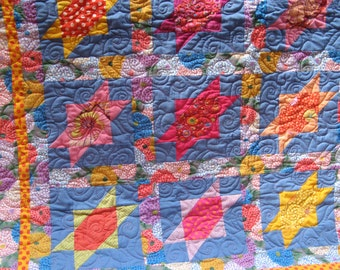 Summer Blooms Patchwork Quilt