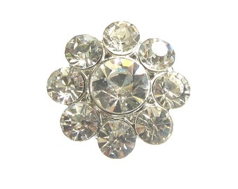 5 Crystal Rhinestone Buttons Round Shape Wedding Invitation Card Hair Accessories Scrapbooking Ring Pillow RB-052 (22mm or 0.9 inch)