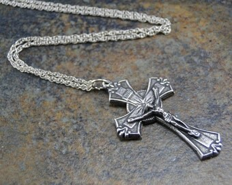 Crucifix Cross Pendant Necklace - Silver Plated Charm on 18 inch silver rope chain