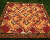 Fall Lap Quilt in Rich Red and Shades of Orange