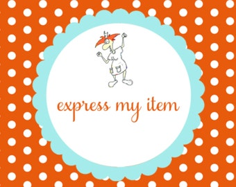 Express my order Put my order in front of the others this is for each item u purchase