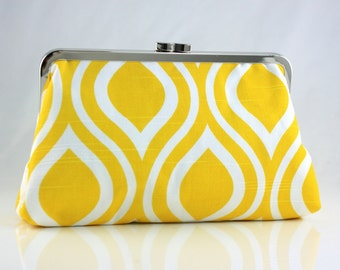 Yellow & White Teardrop - 8 inches Bridesmaid Clutch - the Christine Style Clutch