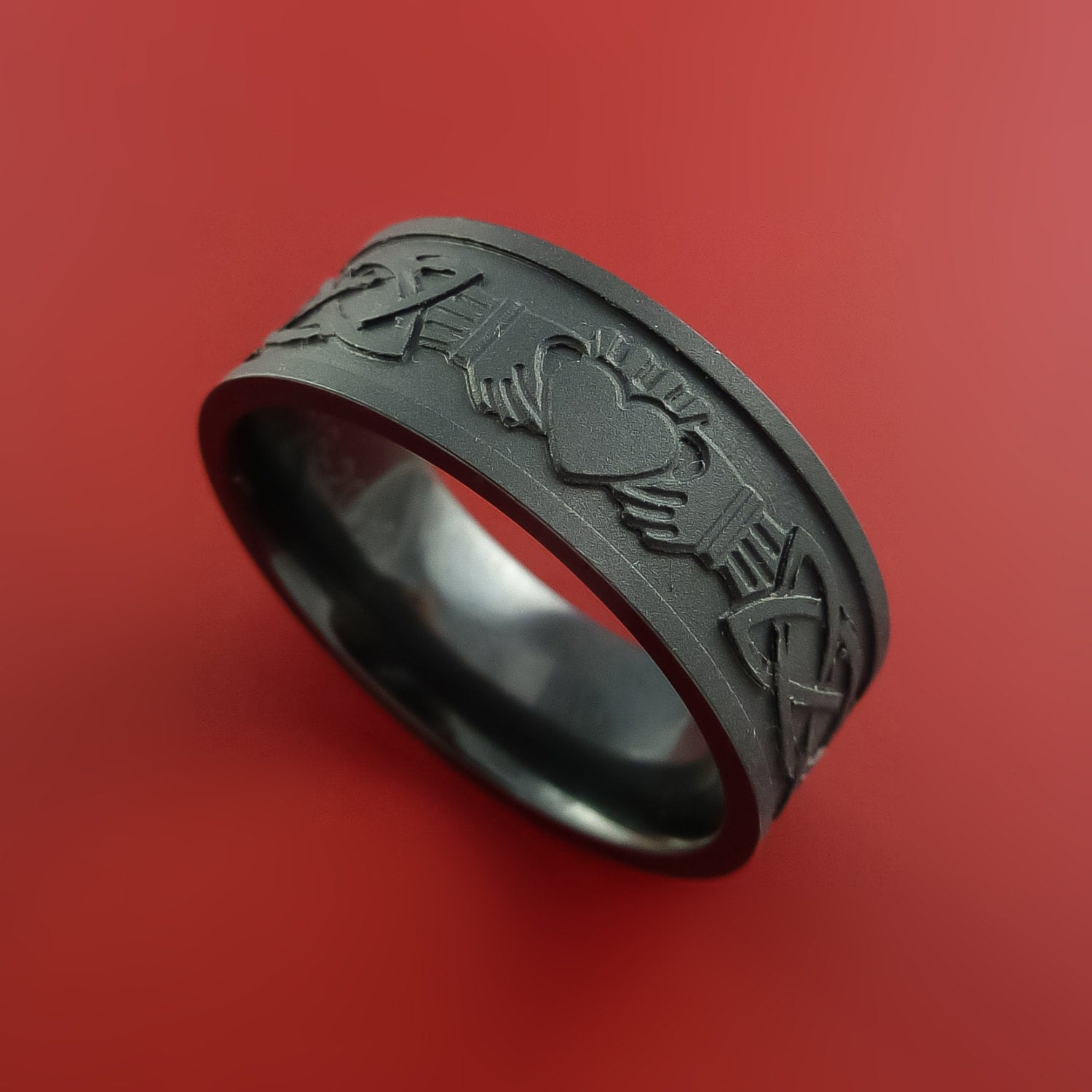 black zirconium celtic irish claddagh ring hands clasping. Black Bedroom Furniture Sets. Home Design Ideas