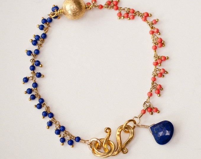 Lapis and Coral Bracelet Perfect for Bronco or Boise State Fans