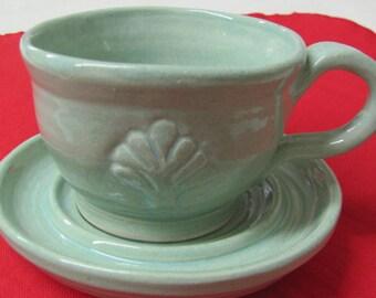 Teacup Ceramic Tea Cup Coffee Cup Pottery Handmade Cup Stoneware Tablewares Pottery Wheel Thrown Mug Stoneware Turquoise Ceramic Dish  Mug