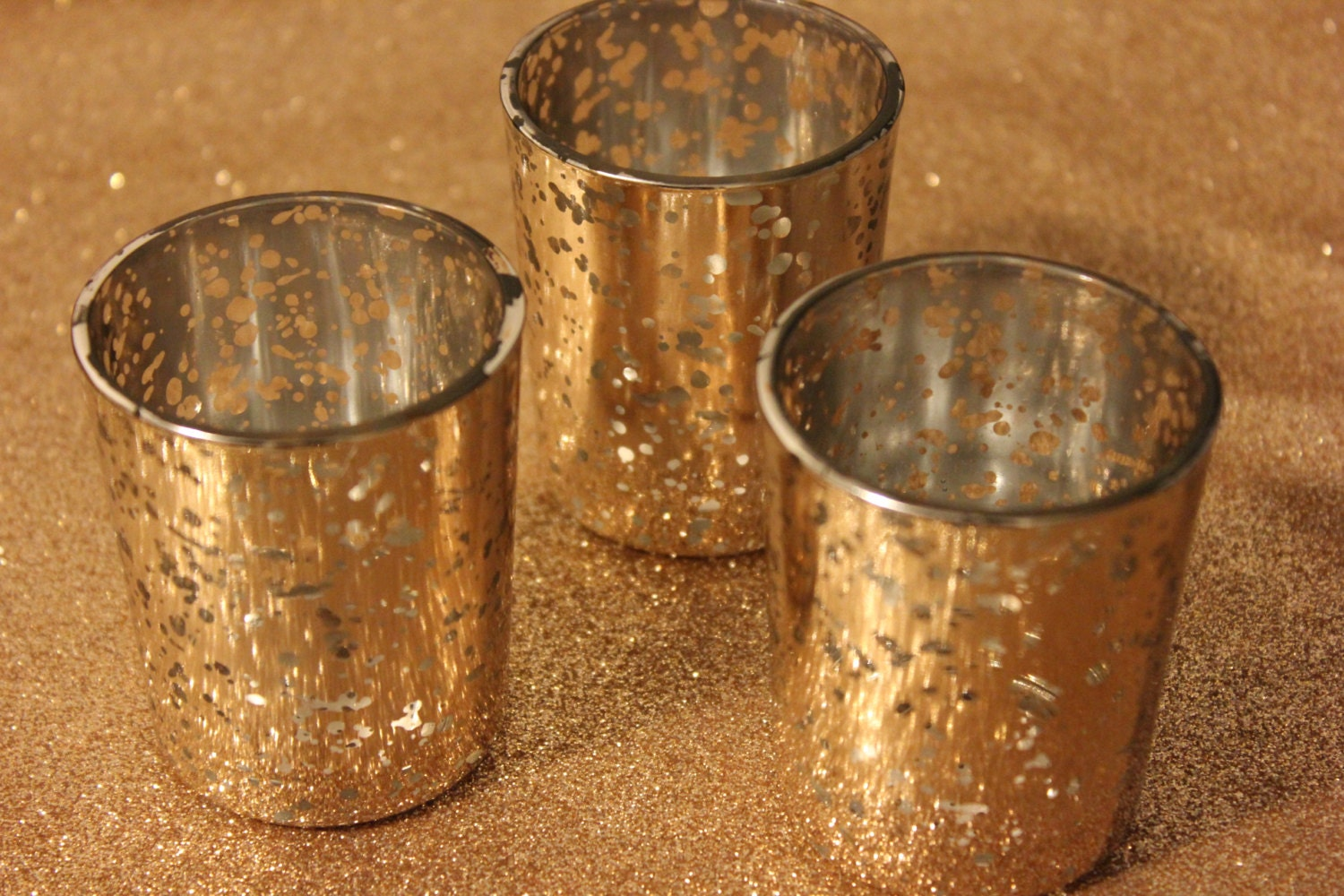 Sale Set Of 20 Mercury Glass Gold Speckled By