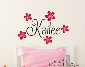 Personalized Name With Flowers, Custom Vinyl wall decals stickers, nursery, kids & teens room, removable decals stickers