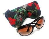 Japanese Inspired Floral  Eyeglass Case, Sunglasses Pouch, Sunglasses Case, Zippered Eye Pouch