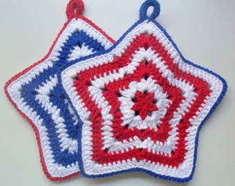Patriotic Star Pot Holders Red White Blue
