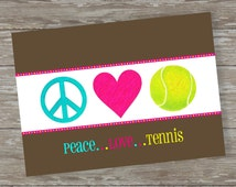 Set of 6 - 5 x 7 FLAT Tennis note cards with envelopes- Peace Love Tennis