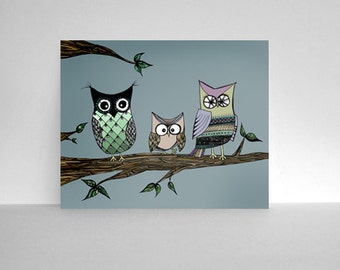 50% OFF SALE: Three Owls on a Tree Branch 8x10 Color Print, Perfect as Cute Nursery Art - Owl Art