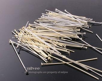 10grams(95-100pcs)-40mmHeadpin Rhodium Gold plated over brass head pins(E326)