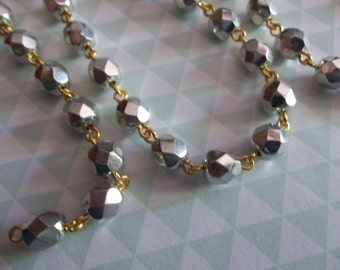 Bead Chain Opaque Shiny Silver 6mm Fire Polished Glass Beads on Gold Beaded Chain - Qty 18 inches