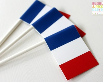 French Flag Toppers - #Paris #Party Set