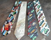 Novelty Neck Tie Necktie Route 66 Signs Expedition Maps Antique Cars Cotton Blend Mens Casual Sporty Fashion Apparel Wedding Father Gift