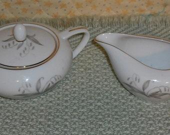 Clearance Vintage Kaysons Fine China Golden Rhapsody Creamer Pitcher Sugar Bowl w Lid Gold Trim Circa 1961 Japan Retro Home Kitchen Dining