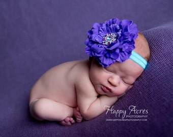 Purple and Turquoise headband, baby headband, newborn headband, purple headband, newborn photography prop