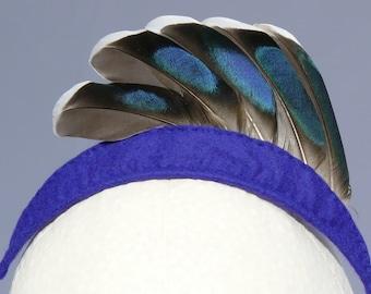Feather Headband Blue Fan