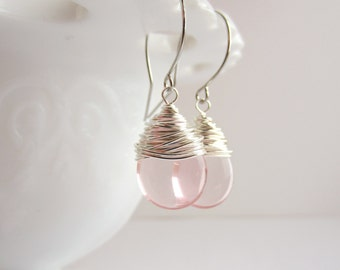 Pink Earrings Wire Wrapped Earrings RosalineCzech Glass Jewelry Dangle Earrings Tear Drop Earrings Valentines Gift