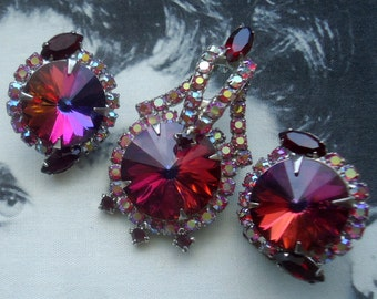 DeLizza and Elster a/k/a Juliana Red Volcano Rivoli Brooch Pendant and Earrings Demi Parure
