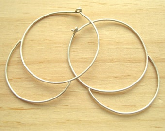 Silver Crescent Moon Hoops // Silver or Oxidized