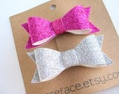 Mini Glitter Hair Bows - Set of 2 - Magenta Pink / Silver