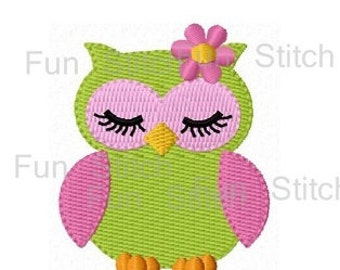 sleeping girly owl machine embroidery design