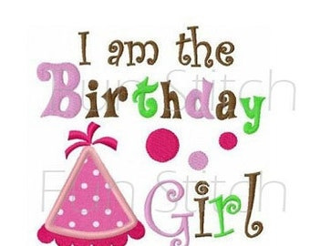 birthday hat birthday girl applique machine embroidery design
