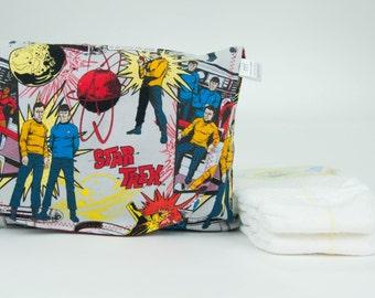 Diaper and Wipe Clutch in Sci-Fi Retro TV Show Fabric Mini Diaper Wipes Travel Bag Small Nappy Bag Geek Dad Diaper Bag Nerd Dad Diaper Bag