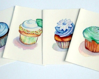 Stationery Card Set - Cupcake Cards, Watercolor Art Note Cards (Ed.1), Set of 4