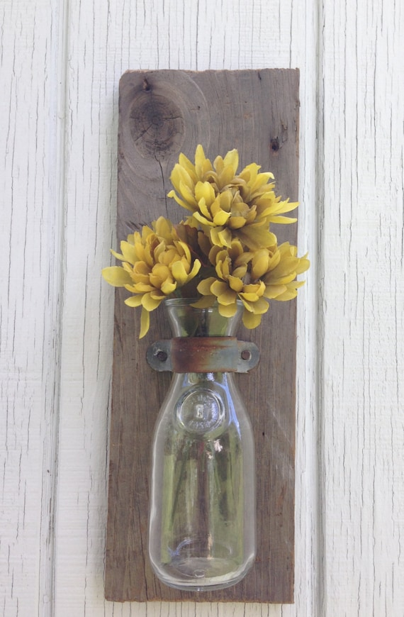 Wall Sconces Etsy : Wooden Wall Sconces Old Milk Bottle Mounted by KeywheatKreations